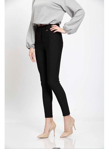 Vitrin Simli Siyah Kumaş Beş Cep Pantolon Siyah